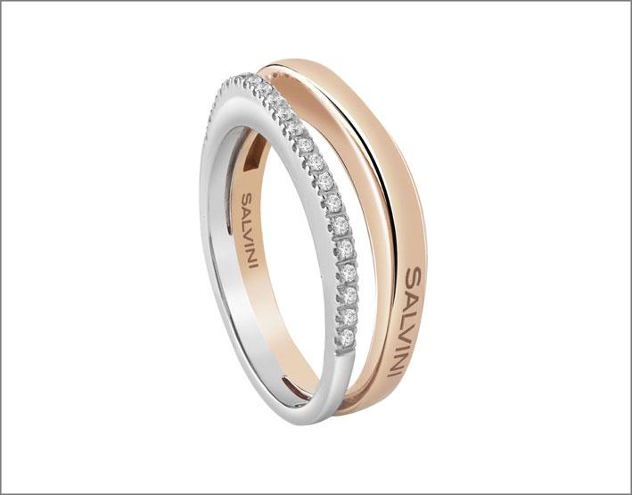 Anello in oro bianco e rosa con diamanti