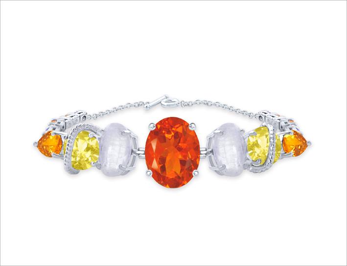 Bracciale in argento con opale di fuoco, pietra luna, citrino