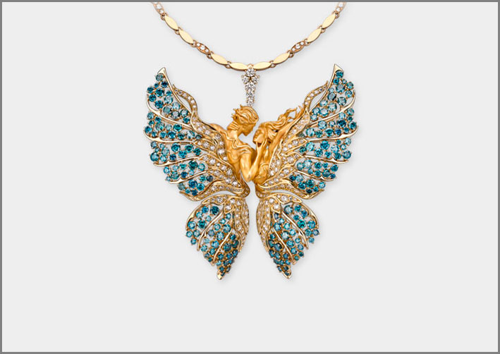 Necklace Butterfly Lovers, yellow gold 18kt, white diamonds and blue diamonds