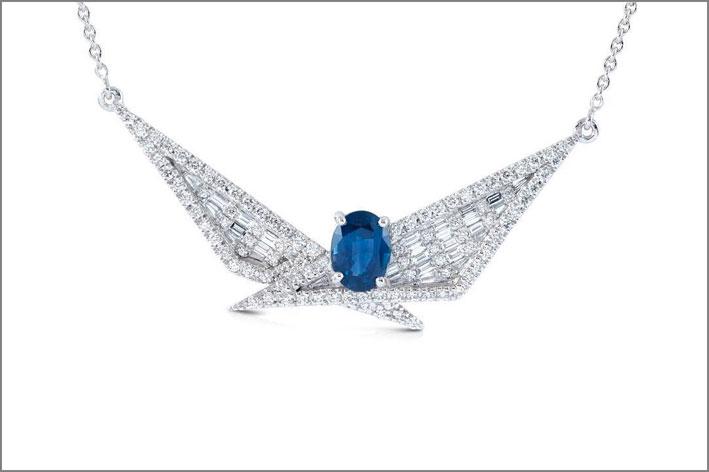 Pendente della collezione geo Art, con zaffiro e diamanti