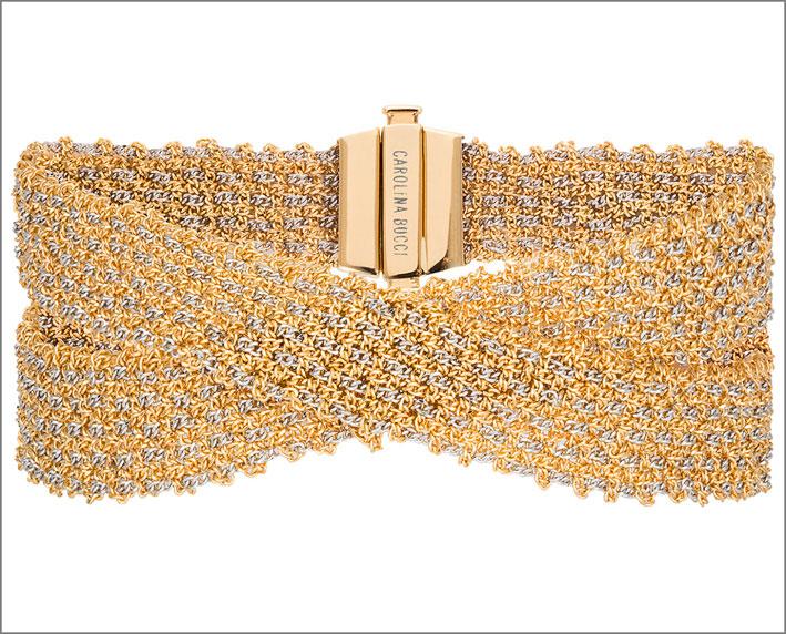 Bracciale in oro giallo e marrone intrecciato