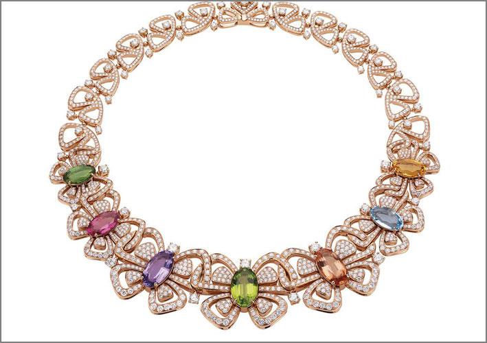 Collana Butterflies, oro rosa, diamanti, pietre di colore come ametista, peridoto, spinello