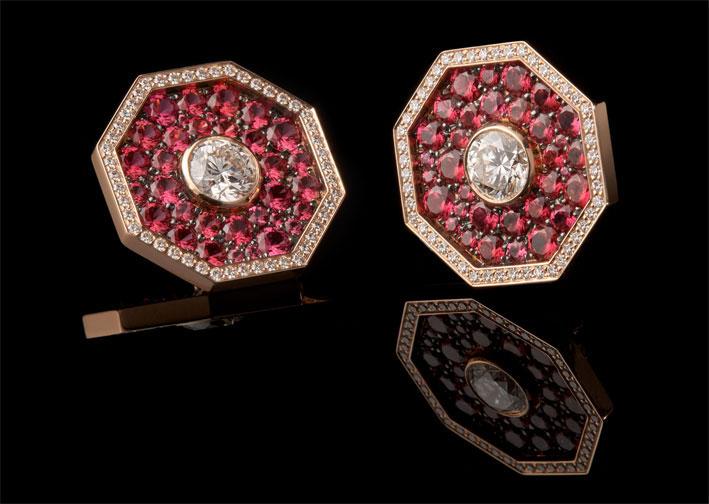 Orragono, anello con diamanti, spinelli rosa, oro rosa