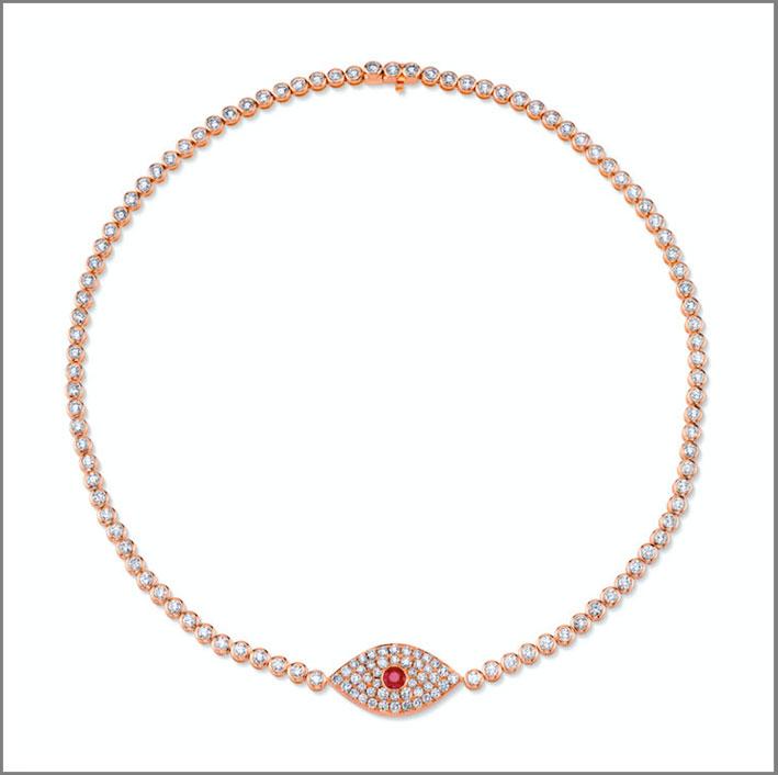 Choker in oro rosa, rubino e diamanti