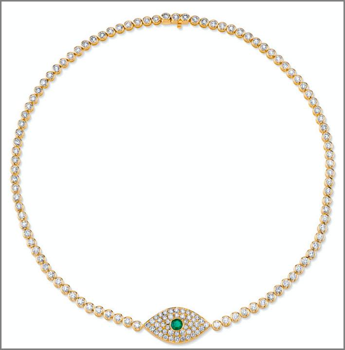 Collana girocollo in oro giallo, smeraldo e diamanti