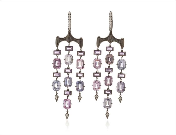 Orecchini in oro bianco, zaffiri, rodio viola e lavanda, zaffiri baguette viola, diamanti