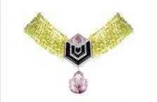 Ciondolo con ametista lilla pallido, smalto nero e diamanti incastonati con perle di taglio a barilotto, peridotp naturale verde lime