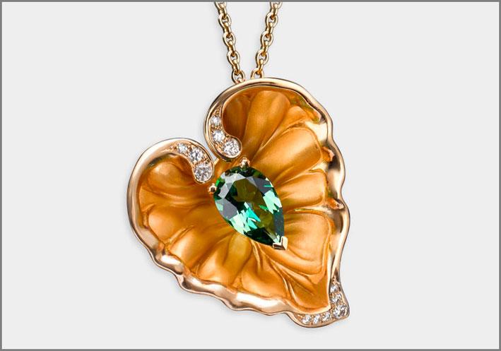 Pendant Lady Juliet, yellow gold 18kt, diamonds and rain forest topaz