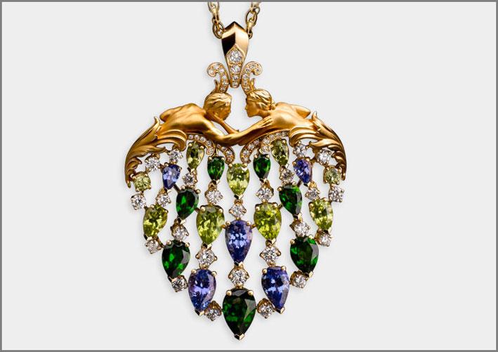 Pendente Juliet, yellow gold 18kt, diamonds, diopside, tanzanite and peridot
