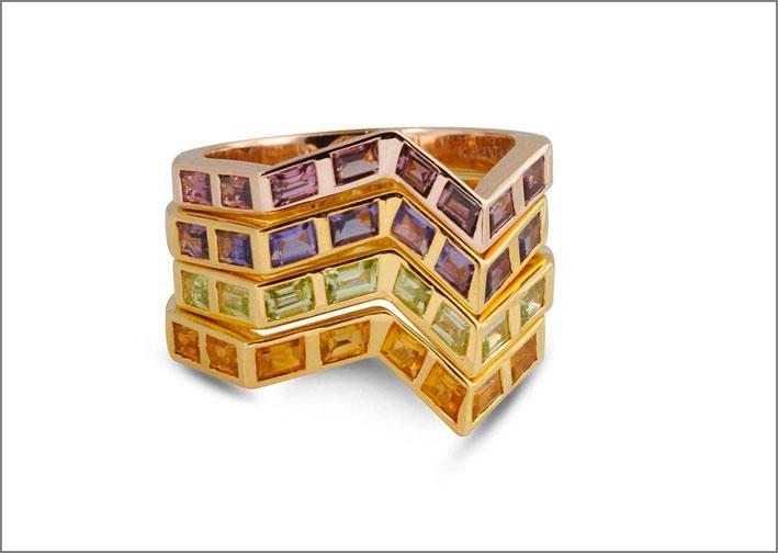 Anello della collezione Ziggy con rodolite, ametiste, peridoti, citrini