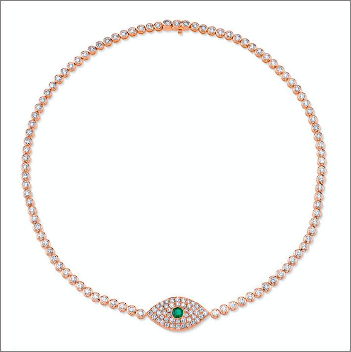 Choker in oro rosa, smeraldo e diamanti