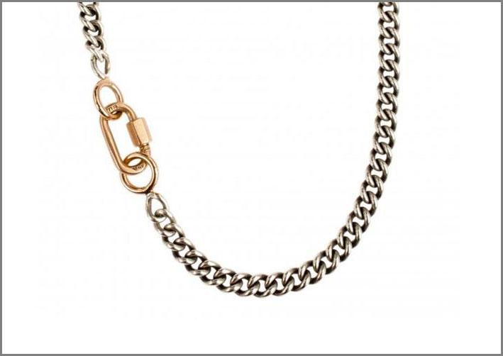 Babylock, catena in argento con chiusura in oro 14 carati