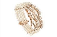 Collezione Cherry Blossim, bracciale in vermeil oro rosa, diamanti e perle