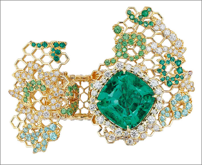 Dior, oro giallo, diamanti, smeraldi, tormalina tipo Paraiba, granato, tsavorite