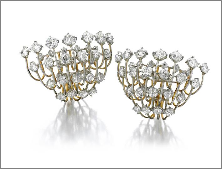 Orecchini a clip con diamanti taglio europeo
