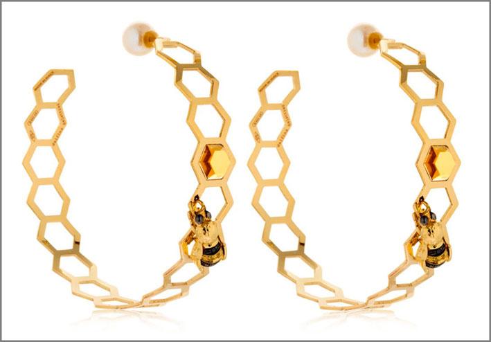 Orecchini in oro giallo, diamanti neri, zaffiri gialli, perla, citrino