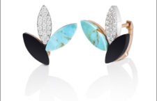 Stud earrings in rose gold with turquoise, diamond pavé and black jade