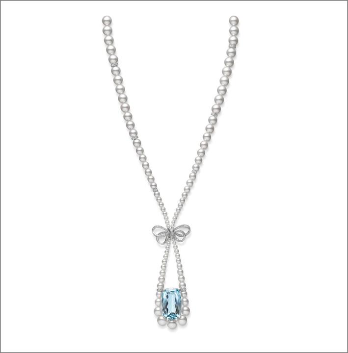Pendente con perle, diamanti e acquamarina