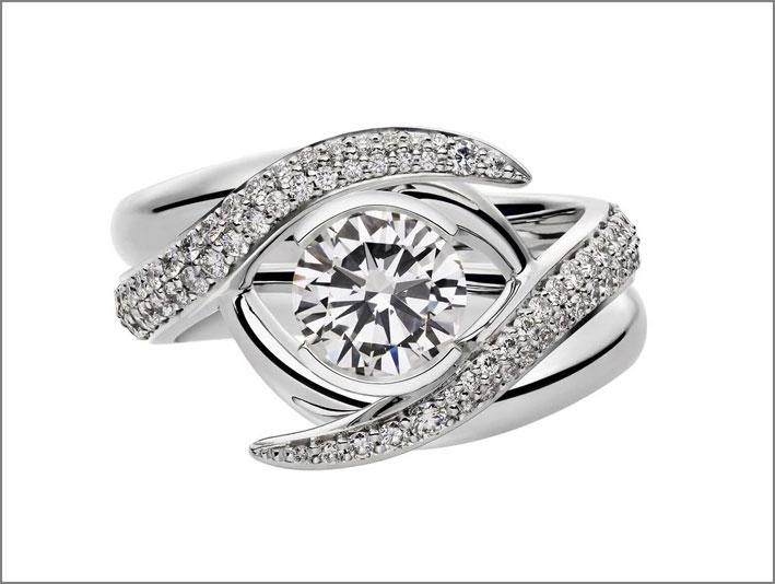 Anelli a incastro in oro bianco e diamanti (1 carato)