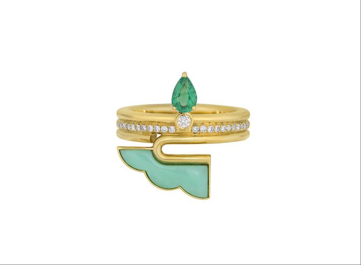 Anello in oro giallo 14 carati, diamanti bianchi, smeraldo, crisoprasio