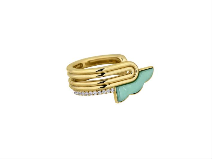 Anello della collezione Atelier in oro giallo 14 carati, diamanti bianchi, smeraldo, crisoprasio