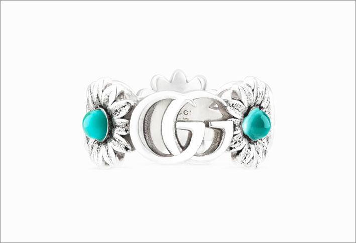 Anello in argento della collezione GG Marmot