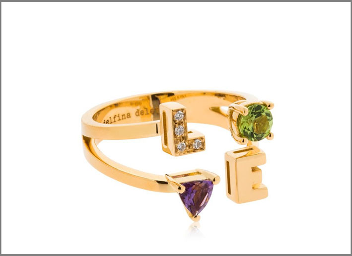 Anello Love, in oro, ametista, diamanti e peridoto