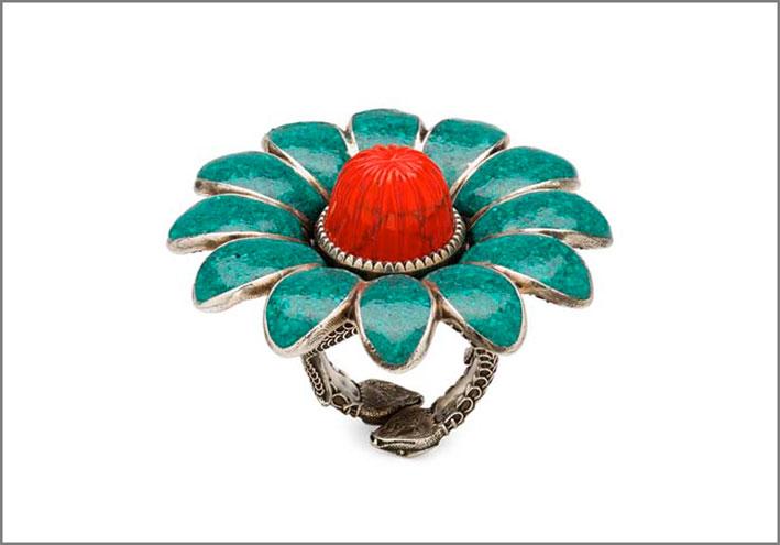 Anello in argento con smalto turchese e rosso
