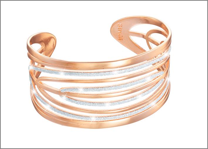 Bracciale color oro rosa con glitter