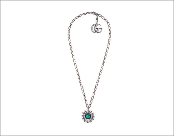 Collana in argento con smalto turchese