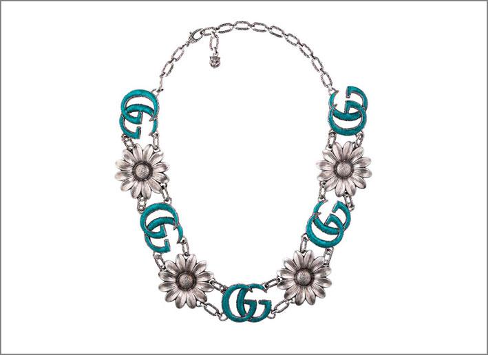 Collana in argento con fiori smalto turchese