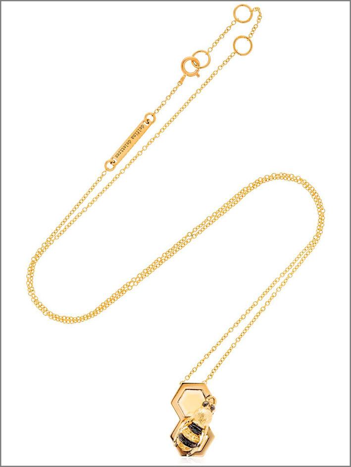 Delfina Delettrez, collana in oro giallo, diamanti neri, zaffiri gialli