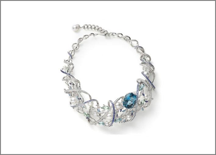 Collana con acquamarine, perle, zaffiro e diamanti