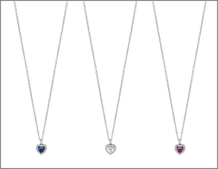 Collane con zaffiro, diamanti, rubino