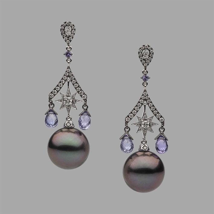 Autore, orecchini con perle di Tahiti, ametiste e diamanti