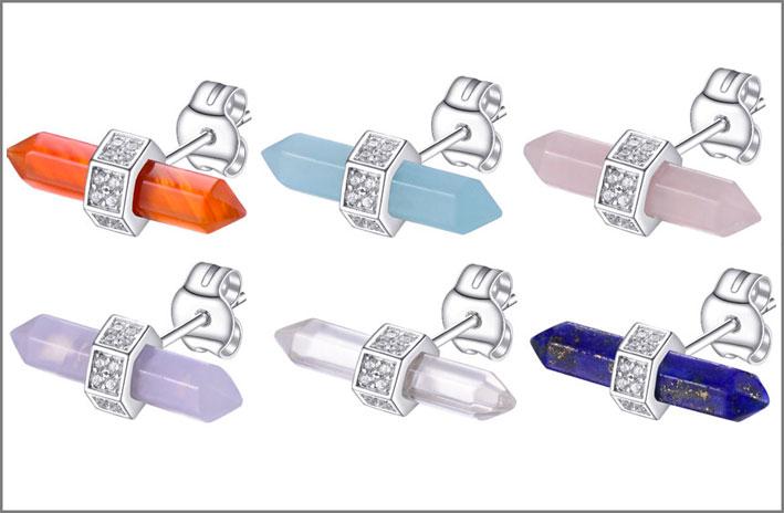 Orecchini con pietre a forma di prisma