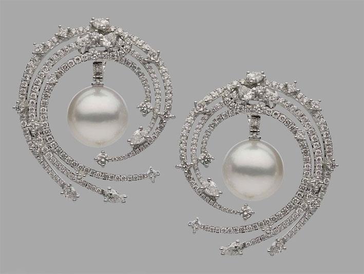 Autore, orecchini con perle e diamanti