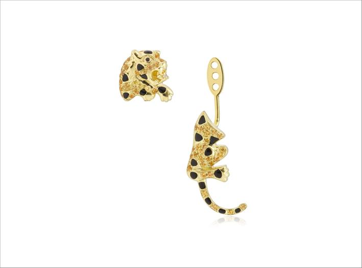 Orecchino singolo in oro giallo 9 carati, zaffiri gialli, diamanti grigi, spinello nero