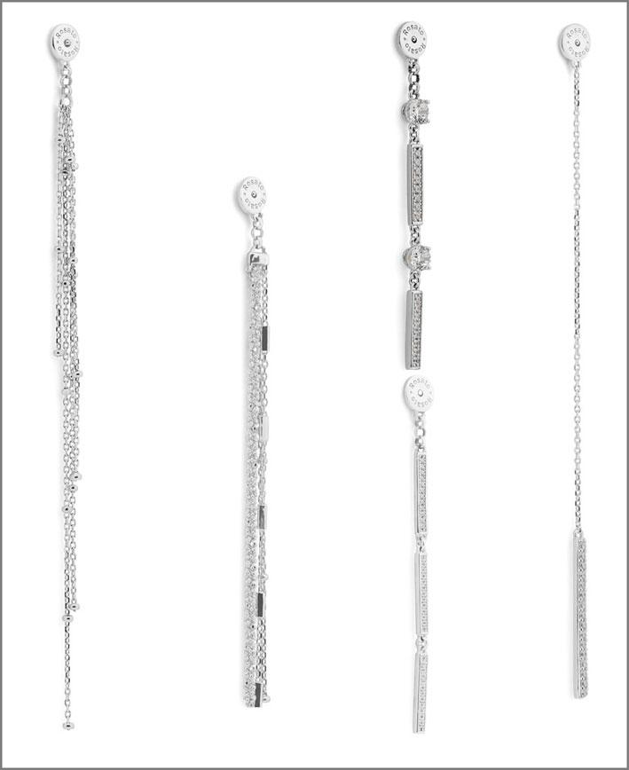 Rosato, orecchini pendenti in argento