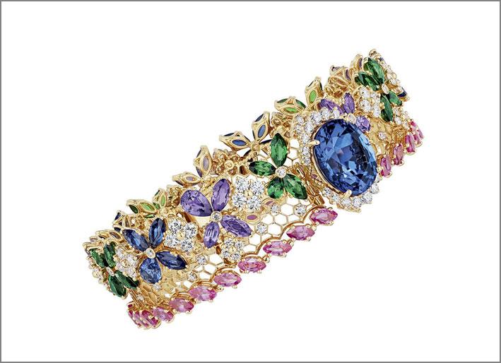 Bracciale Popeline in oro rosa, zaffiri, ametista, smeraldi e tanzanite