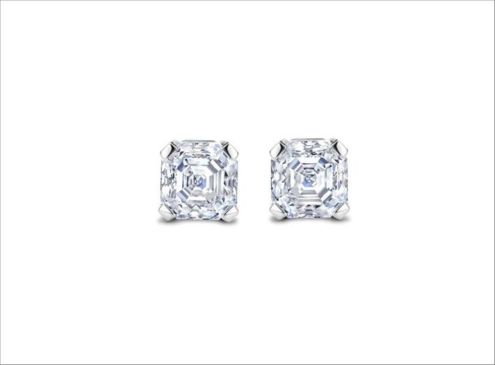 Orecchini con diamanti per 1 carato con taglio Asscher