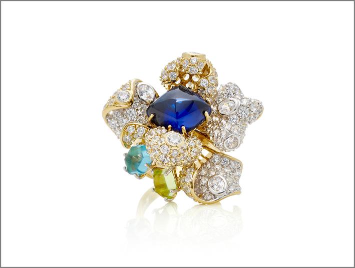 Anello in vermeil bianco e giallo, oro 18 carati, zaffiro blu kashmir sintetico, zaffiro di 6 carati acquamarina, 184 diamanti bianchi a pavé