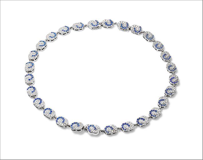 Collana Sabina in oro bianco con diamanti e zaffiri