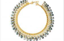 Collana a frange in oro con perle grigie e marroni