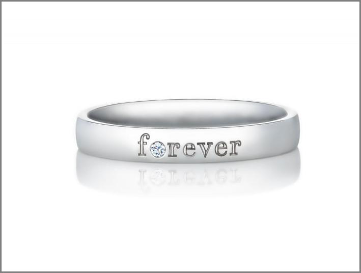 De Beers, anello Forefer, oro bianco e diamante