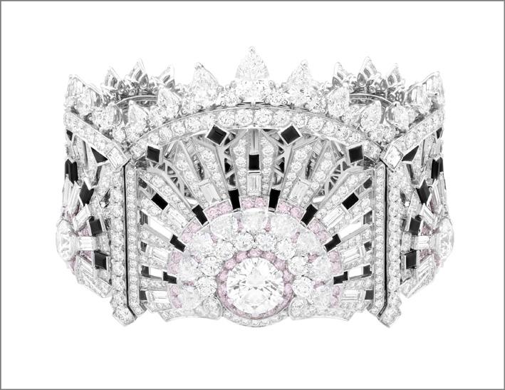Bracciale Lumiére. Spinelli neri, onice, diamanti bianchi e rosa