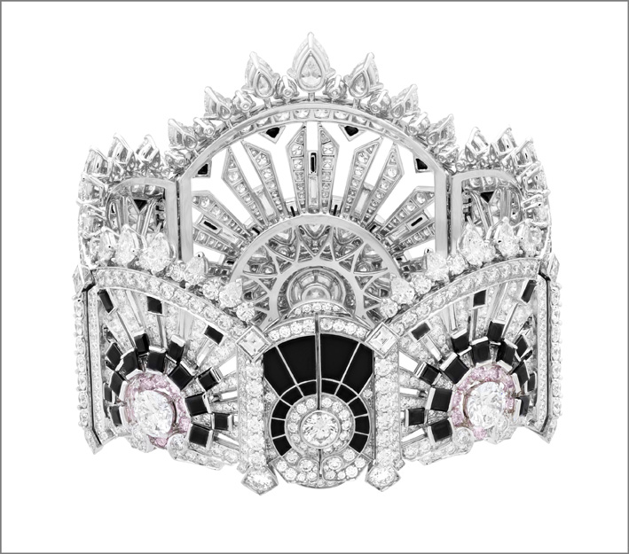 Bracciale Lumiére. Spinelli neri, onice, diamanti bianchi e rosa (retro)
