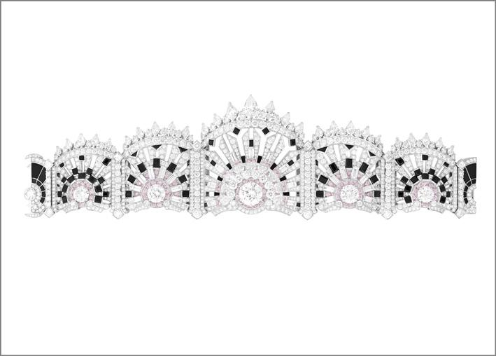 Bracciale Lumiére aperto. Spinelli neri, onice, diamanti bianchi e rosa (retro)