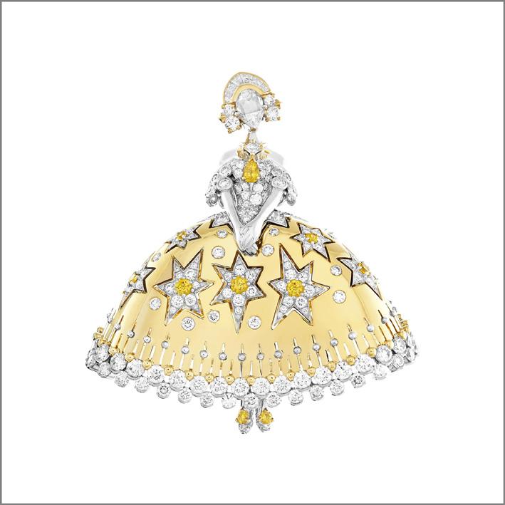 Clip Princesse Danica. Zaffiri gialli, diamanti