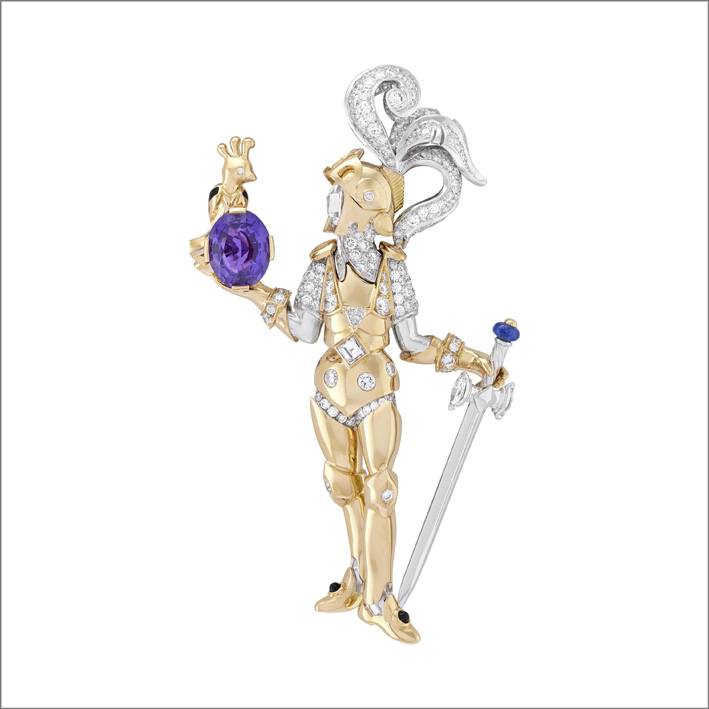 Clip Le prince et l'oiseau. Zaffiro viola ovale di 3,18 carati (Madagascar), zaffiro blu, onice, diamanti